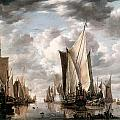 Shipping In A Calm At Flushing Wiht A States General Yacht Firing A Salute by Jan van de Cappelle