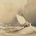 Ships At Sea Off Folkestone Harbour Storm Approaching by Anthony Vandyke Copley Fielding