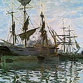 Ships In Harbor by Claude Monet - L Brown