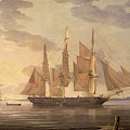 Ships In Harbor Signed And Dated Lower Right R by Litz Collection