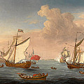 Ships In The Thames Estuary Near Sheerness by Isaac Sailmaker