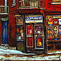 Shops And Streets Of St Henri- Montreal Paintings Depanneur Coca Cola Winter City Scenes by Carole Spandau