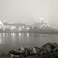 Shoreline Village In The Fog by Denise Dube