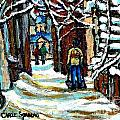 Shovelling Out After January Storm Verdun Streets Clad In Winter Whites Montreal Painting C Spandau by Carole Spandau