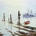Shrimp Boat With Evening Lights by Bill Holkham
