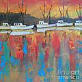 Shrimp Boats At Dawn by Kip Decker