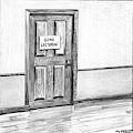 Shut Door In A Hallway With A Sign That Read Gone by Matthew Diffee