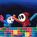 Shy Guys Playing Tetris by Katie Clark