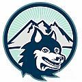 Siberian Husky Dog Head Mountain Retro by Aloysius Patrimonio