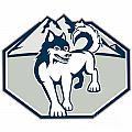 Siberian Husky Dog Mountain Retro by Aloysius Patrimonio