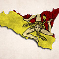 Sicily Map Art With Flag Design by World Art Prints And Designs