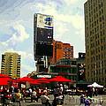 Sidewalk Cafe Lunch Break Red Umbrellas Yonge Dundas Square Toronto Cityscene C Spandau Canadian Art by Carole Spandau