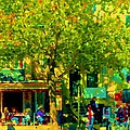 Sidewalk Cafe Rue St Denis Dappled Sunlight Shade Trees Joys Of Montreal City Scene  Carole Spandau by Carole Spandau