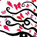 Silhouette Of A Woman With Pink Butterflies by M Bleichner