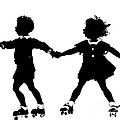 Silhouette Of Children Rollerskating by Rose Santuci-Sofranko