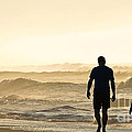 Silhouetted Father And Son Walk Beach  by Jo Ann Tomaselli