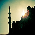 Silhouettes Of Blue Mosque Istambul Turkey by Raimond Klavins