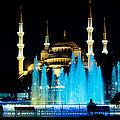 Silhouettes Of Blue Mosque Night View by Raimond Klavins