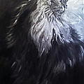 Cat Portrait Painting. Big Cat Series Silver Light by Christine Montague