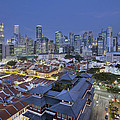Singapore Central Business District Over Chinatown Blue Hour by Jit Lim