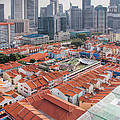 Singapore Chinatown With Modern Skyline by Jit Lim
