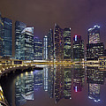 Singapore City Skyline Along Marina Bay Boardwalk At Night by Jit Lim