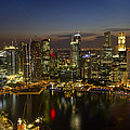 Singapore City Skyline At Dusk by David Gn