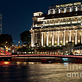 Singapore Fullerton Hotel At Night 02 by Rick Piper Photography