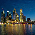 Singapore River Waterfront Skyline At Blue Hour by Jit Lim