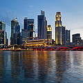 Singapore River Waterfront Skyline At Sunset by Jit Lim