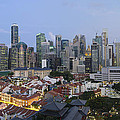 Singapore Skyline Along Chinatown Evening by Jit Lim