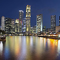 Singapore Skyline By Boat Quay Vertical by Jit Lim