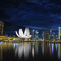 Singapore Skyline By River Waterfront At Dusk by Jit Lim