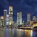 Singapore Skyline From Boat Quay by Jit Lim
