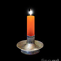 Single Orange Candle On Black by Melissa A Benson