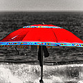 Single Red Beach Umbrella by Bill Swartwout Photography