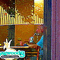 Sipping A Seven Up At Dagwoods Window Seat At The Sandwich Shop Montreal Summer Scene Carole Spandau by Carole Spandau