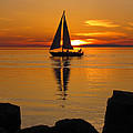 Sister Bay Sunset Sail 2 by David T Wilkinson