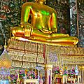 Sitting Buddha In Wat Suthat In Bangkok-thailand by Ruth Hager