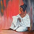 Sitting Lady In White Next To A Red Wall by Chris McCullough