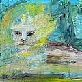 Sitting Lion Oil Portrait by Fabrizio Cassetta