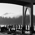 Siuslaw River Bridge Florence Oregon Black And White by Renee Hong