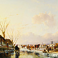 Skaters By A Booth On A Frozen River by Andreas Schelfhout