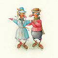 Skating Ducks 14 by Kestutis Kasparavicius