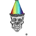 Skull With Rainbow Hat by George Pedro