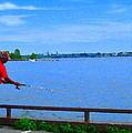 Sky Blue Calm Waters Fisherman On The Pier  Lachine Canal Montreal Summer Scenes Carole Spandau by Carole Spandau
