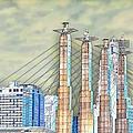 Sky Stations Pylon Caps - Downtown Kansas City Missouri by Liane Wright