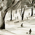 Sledding In The Snow Watercolor Painting Of Central Park Nyc by Beverly Brown