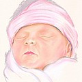 Sleeping Baby In A Pink Hat by MM Anderson