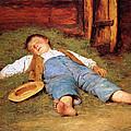 Sleeping Boy In The Hay by Albert Anker